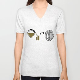 My brain runs on coffee Unisex V-Neck
