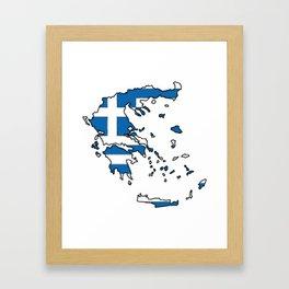 Greece Map with Greek Flag Framed Art Print