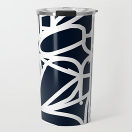 Stained Glass Pattern Black and White Travel Mug