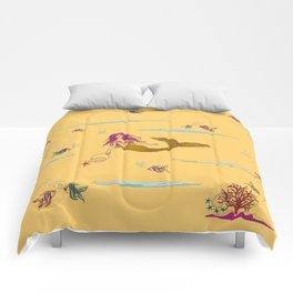Fashionable mermaid - yellow-orange Comforters