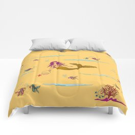 Fashionable mermaid - yellow-orange Comforters