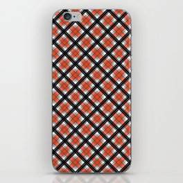 Black and orange plaid iPhone Skin