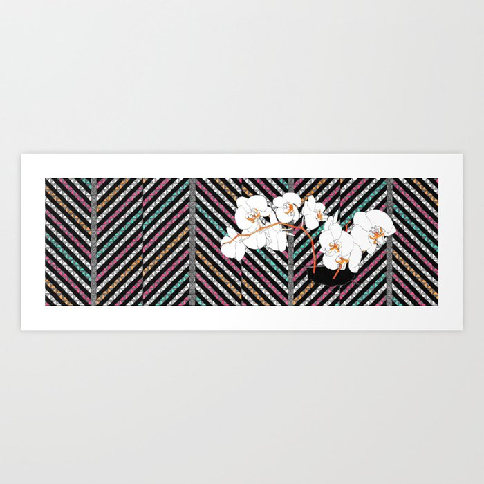 Breaking Patterns (color variation: red accents) Art Print