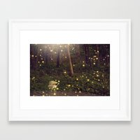 fireflies Framed Art Prints featuring Fireflies by Maureen Anne