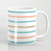 stripe Mugs featuring Sparkle Stripe by Social Proper