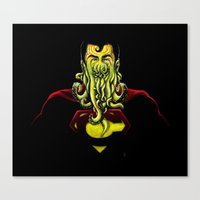 cthulu Canvas Prints featuring SuperCthulhu by 6amcrisis