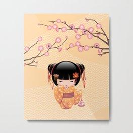 Japanese Ume Kokeshi Doll Metal Print