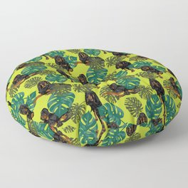 Tropical Black and Tan Coonhounds 2 Floor Pillow