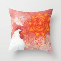 apocalypse now Throw Pillows featuring apocalypse chicken by Sarah Knight