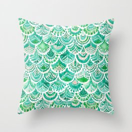 VENUS DE MER Green + Blush Mermaid Scales Throw Pillow