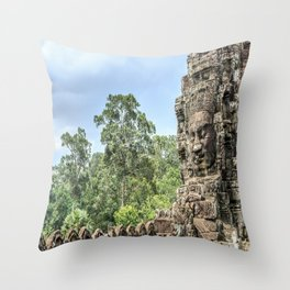 Bayon Temple, Angkor Thom, Cambodia Throw Pillow