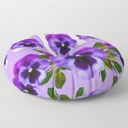 MODERN LILAC & PURPLE PANSY FLOWERS ART Floor Pillow