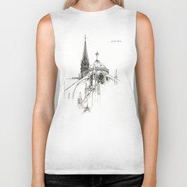 Notre Dame Cathedral Sketch Biker Tank