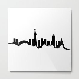Toronto Skyline - White Metal Print