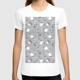 Pomegranate fruits on gray T-shirt