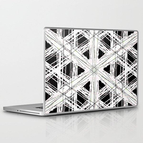 Black & white rattan pattern w/ peekaboo pink and green strings Laptop & iPad Skin