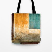 vietnam Tote Bags featuring Antique Chinese Wall - VIETNAM by CAPTAINSILVA