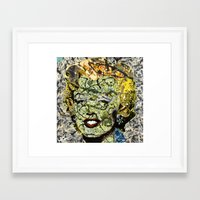marylin monroe Framed Art Prints featuring MARYLIN MONROE POLLOCK by JANUARY FROST
