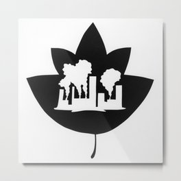 Pollution through Negative Space in Leaf Metal Print