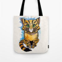 kitten Tote Bags featuring Kitten by SilviaGancheva