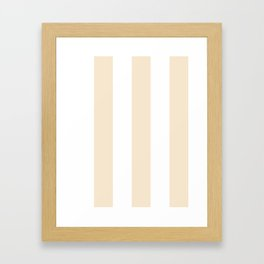 Wide Vertical Stripes - White and Champagne Orange Framed Art Print