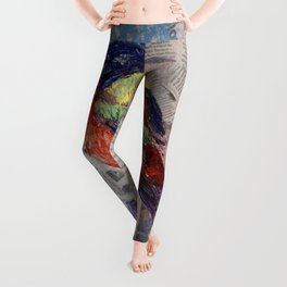 Painted Bunting Bird on Newsprint Leggings