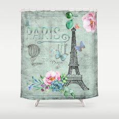 Paris - my love - France Nostalgy- French Vintage Shower Curtain
