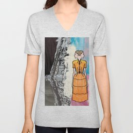 She Is Leaving The Painting Unisex V-Neck