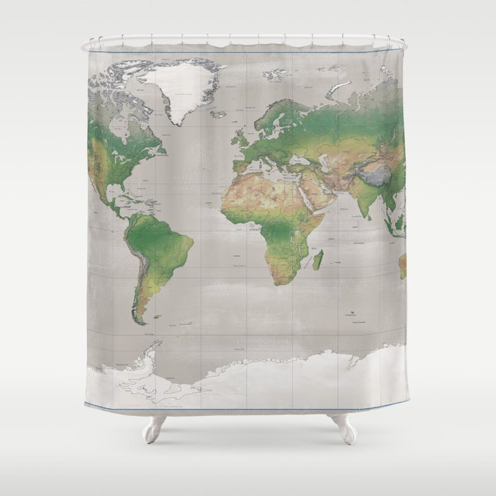 Rustic Physical World Map In Taupe Shower Curtain By Blursbyaishop