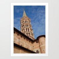 La tour de la  basilique Saint Sernin à Toulouse  Art Print