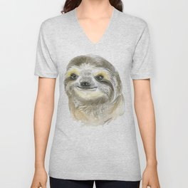 Sloth Face Watercolor Painting Animal Art Unisex V-Neck