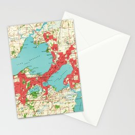 Vintage Map of Madison Wisconsin (1959) Stationery Cards