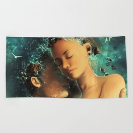 Be castaway into your arms Beach Towel