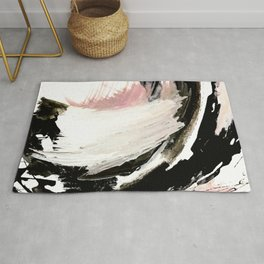 Crash: an abstract mixed media piece in black white and pink Rug