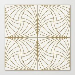 Diamond Series Inter Wave Gold on White Canvas Print