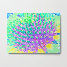 Turquoise Blue and Purple Abstract Coneflower Metal Print