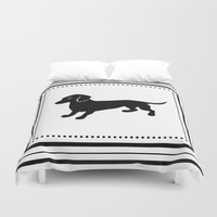 dachshund Duvet Covers featuring Dachshund by Antique Images
