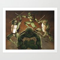 tmnt Art Prints featuring TMNT by Ryan Caskey