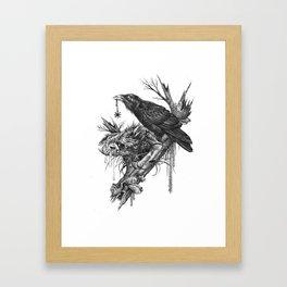 Wolf Skull and Raven. Framed Art Print