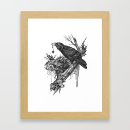 Wolf Skull and Raven. Framed Art Print