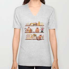 Library Cats on Bookshelves with Christmas Lights Unisex V-Neck