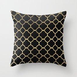 Elegant geometrical black faux gold quatrefoil Throw Pillow