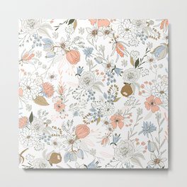Abstract modern coral white pastel rustic floral Metal Print