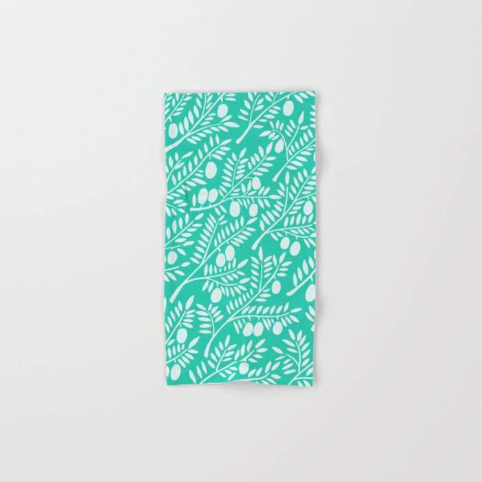 Turquoise Olive Branches Hand & Bath Towel