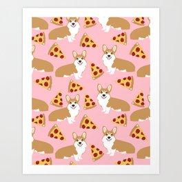 Welsh Corgi Pizza pattern funny dog art customized pet portrait children fur baby must have corgi  Art Print