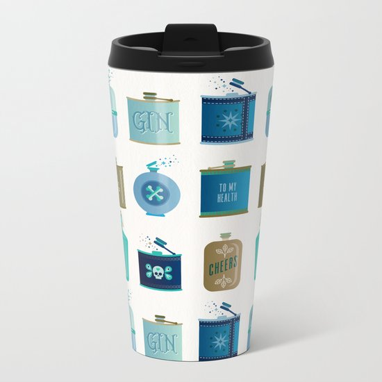 Flask Collection – Blue and Tan Palette Metal Travel Mug