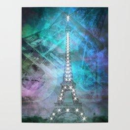 Illuminated Pop Art Eiffel Tower | Graphic Style Poster