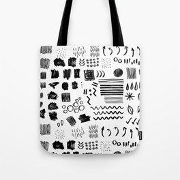 Modern black white watercolor brushstrokes shapes geometrical Tote Bag