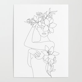 Minimal Line Art Woman with Flowers VI Poster