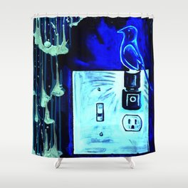 BLUE CANARY IN THE OUTLET BY THE LIGHTSWITCH Shower Curtain